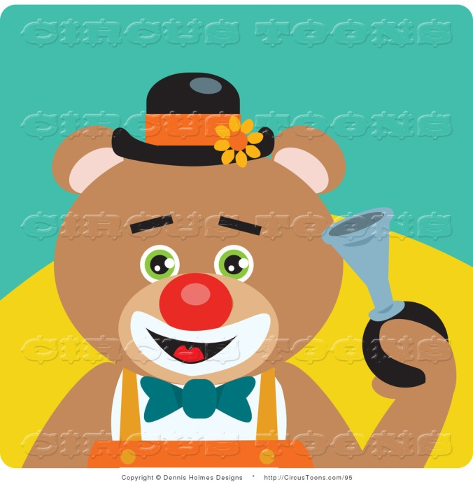 circus-clipart-of-a-green-eyed-brown-male-circus-clown-teddy-bear-honking-a-horn-by-dennis-holmes-designs-95